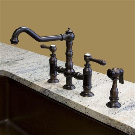 douglass bridge kitchen faucet porcelain lever handles delilah deck mount bridge faucet with side spray lever