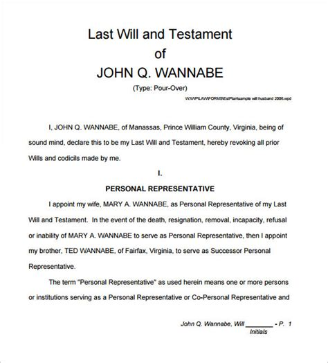 printable last will and testament template sle will form 13 free sles exles format