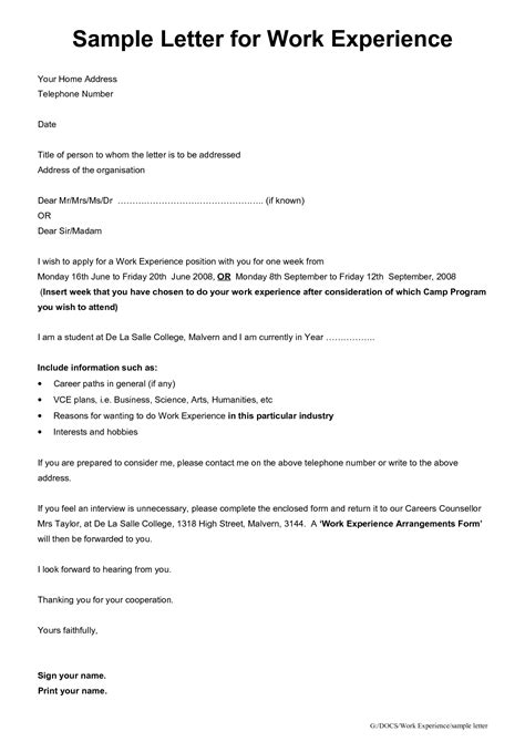 Work Experience Cover Letter Application Letter For Work Experience Sle