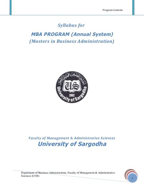 Business Information Systems Syllabus Mba by 29785143 Mba Annual 2009 Sargodha Syllabus 1