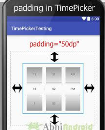 android layout width padding timepicker tutorial with exle in android studio