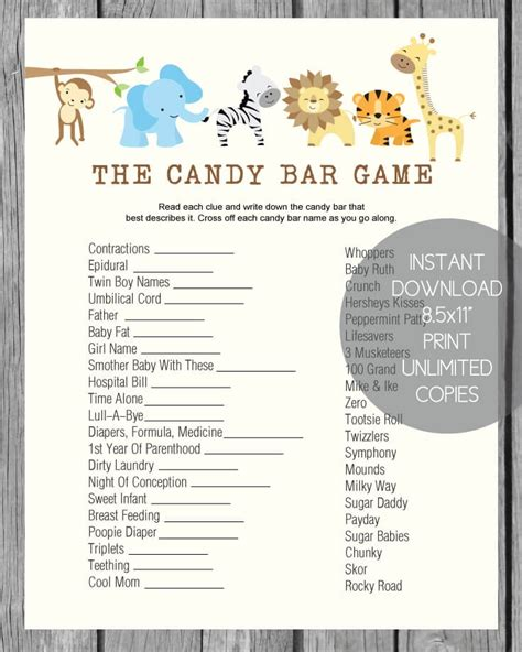 Free Printable Bar For Baby Shower by Jungle Baby Shower Bar Print It Baby
