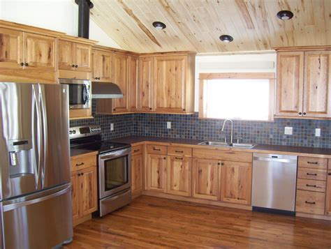 rustic hickory cabinets kitchen traditional with amber