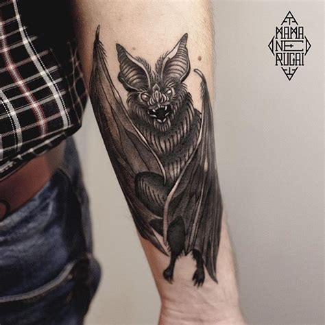 real looking tattoos realistic looking big scary black and white bat on