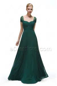 cap sleeves forest green bridesmaid dresses long