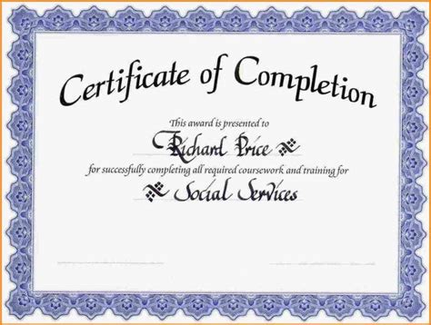 certificate of completion templates free printable editable certificate of completion high quality template