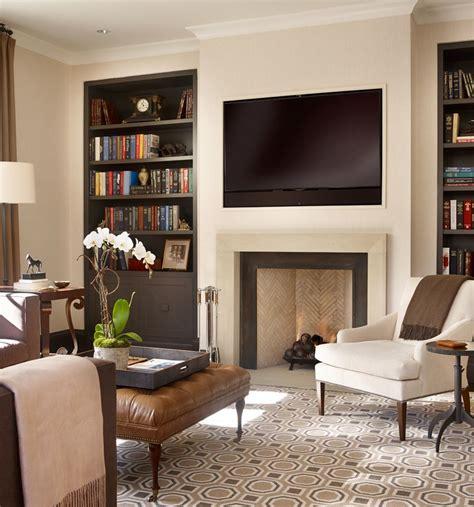 recessed tv  fireplace  bookshelves
