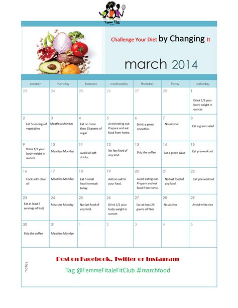 Diet Calendar Femme Fitale Fit Club 174 Blogmarch Madness Challenge Your