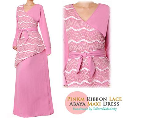 Kr36195rb Maxi Ribbon Pink Pink Ribbon Lace Belted Maxi Dress By Tailored2modesty