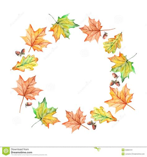 watercolor hand drawn autumn leaves frame stock vector