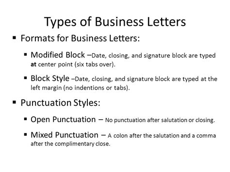 Types Of Business Letter And Their Format business letters punctuation styles 28 images block