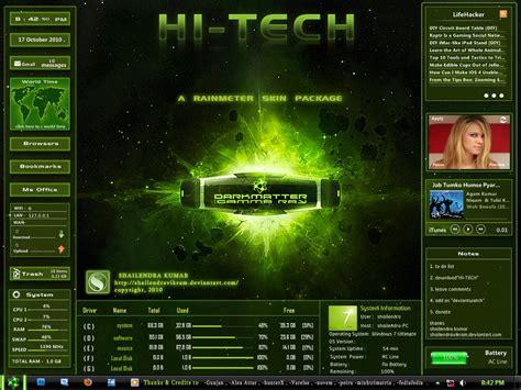 themes for windows 7 technology green goes hi tech rainmeter skin for windows 7