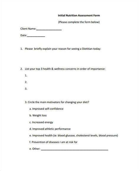 client assessment form template 7 client assessment form sles free sle exle