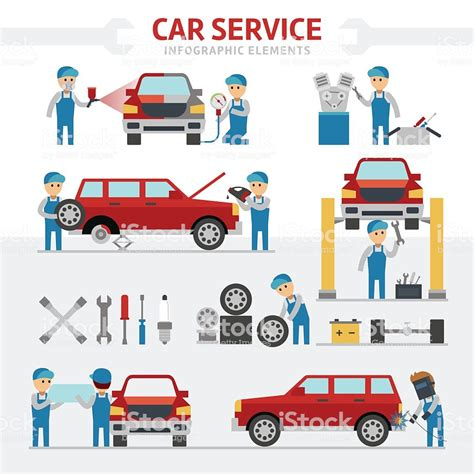 car service car repair service falt vector illustration stock vector