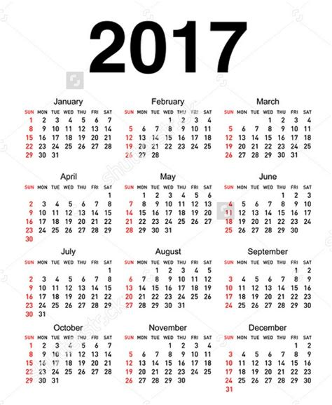 2017 yearly calendar printable calendar template