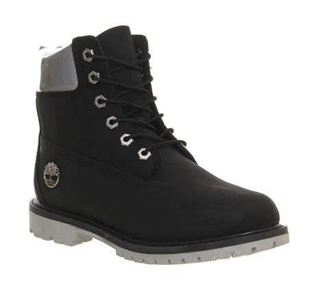 black timberland boots for womens timberland premium 6 boot black iridescent cuff