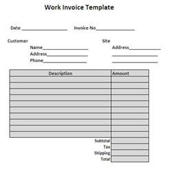 Invoice Template For Work Done by Work Performed Invoice Template