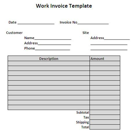 Free Work Template Search Results For Free Invoice Template