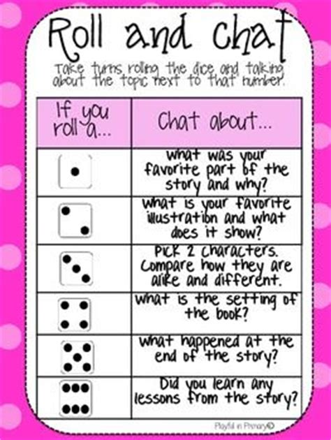 printable question dice freebie roll and chat reading comprehension dice game