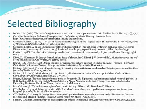 selected bibliography definition music therapy