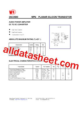 2SC2580 Datasheet(PDF)   Wing Shing Computer Components