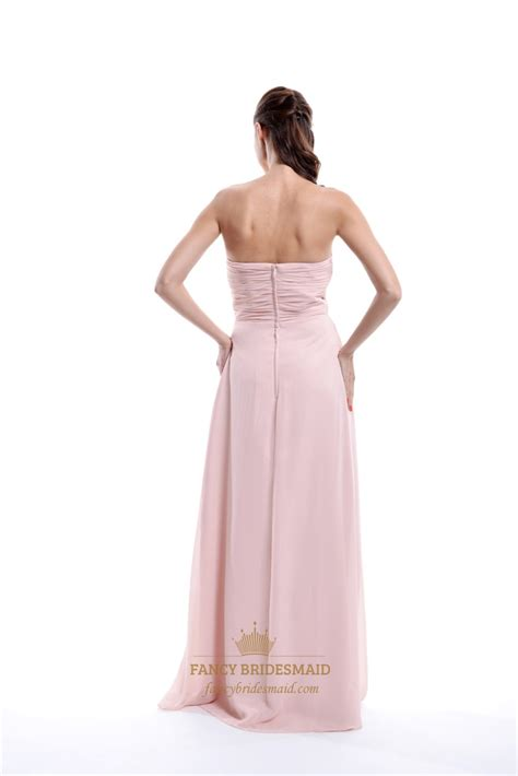 light pink strapless dress light pink strapless pleated chiffon bridesmaid dress with