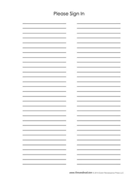 Blank Sign In Sheet Templates Name Email And Phone Number Template
