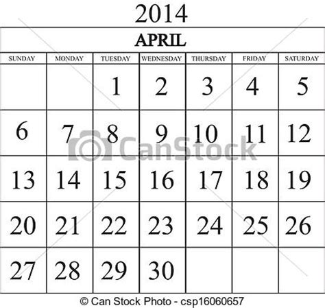 Calendario Abril De 2014 Clipart Vectorial De Calendario 2014 Abril Csp16060657