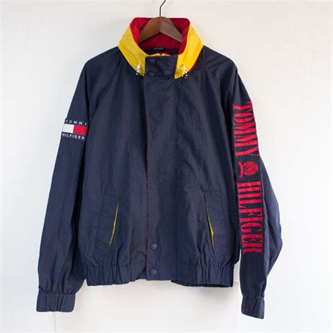 retro l yellow vintage 90 s tommy hilfiger spell out navy blue red yellow