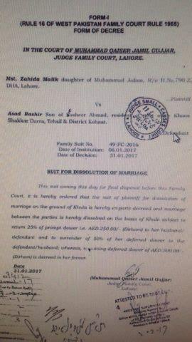 Divorce Letter In Pakistan veena obtains khula from khattak through court pakistan