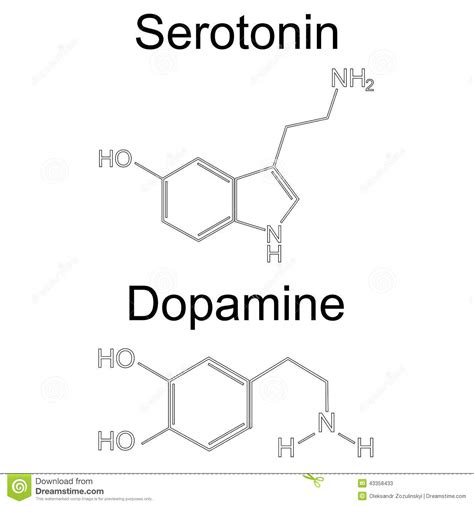 molecule serotonin and dopamine raster stock illustration