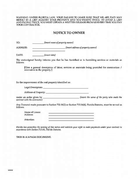 letter to owner letter of intent intent to lien letter florida beautiful florida notice to owner
