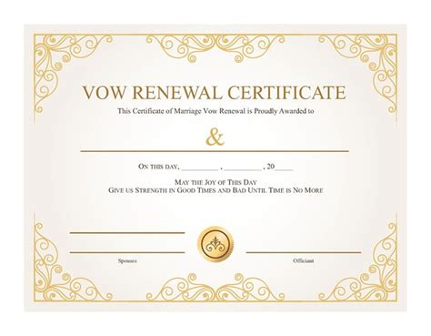 vow renewal certificate template free printable gold vines certificate of vow renewal i