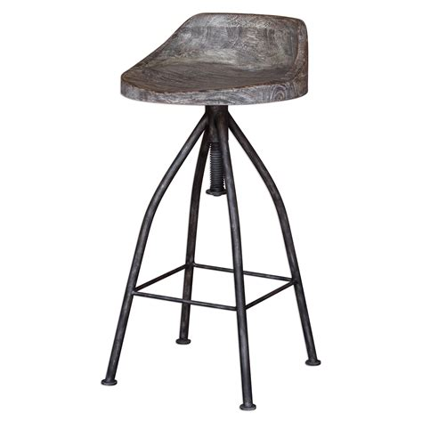 Grey And Wood Bar Stools by Kairu Rustic Wood Iron Bar Stool With Industrial Swivel