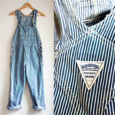 Overall Stripy big work wear overalls railroad striped carpenter