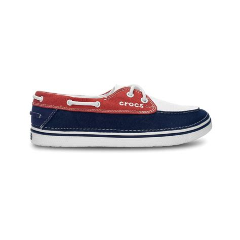 crocs hover boat shoe womens oyster scarlet canvas lace up