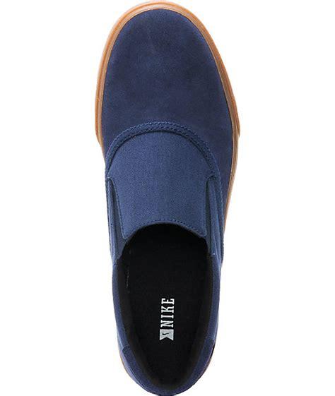Nike Slip On Navy nike sb verona midnight navy gum canvas slip on skate