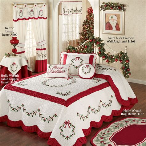 holiday bedspreads and comforters holly wreath quilted oversized holiday bedspread