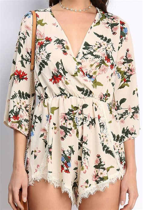 flower pattern jumpsuit floral pattern romper shop jumpsuit romper at papaya