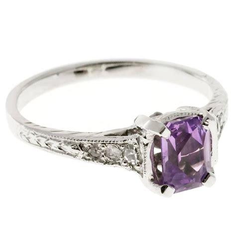 deco pink purple sapphire platinum engagement