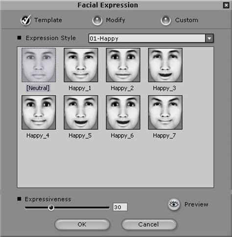 applying and creating facial expressions