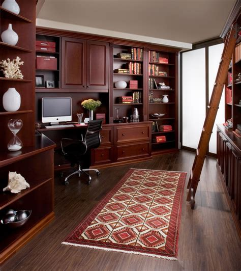 home office in cherry wood traditional home office new york by transform home
