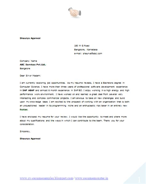 Cover Letter For Company Articleship 10000 Cv And Resume Sles With Free 10 Resume Format For Computer Engineer