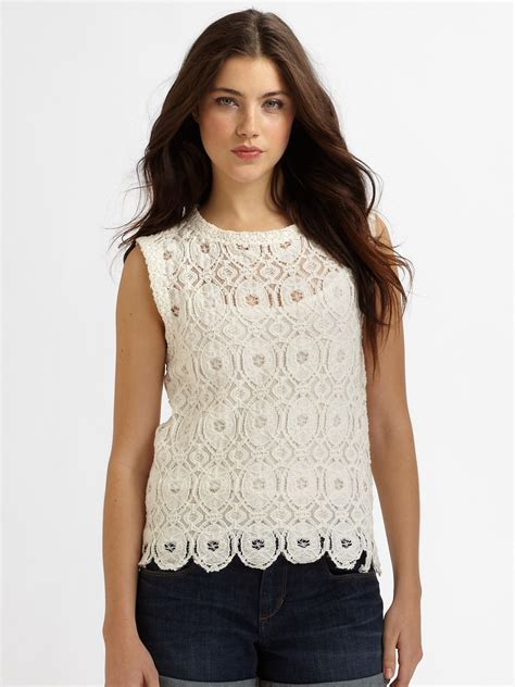 Lace Top Tank Top Bahan Lace lyst sam lavi virginia lace tank top in white