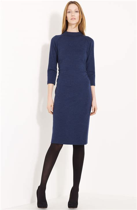 knit clothing lida baday wool knit dress in blue navy melange lyst