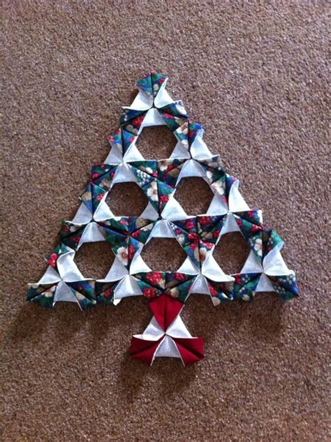 Origami Fabric Tree - tree made using folded patchwork another item