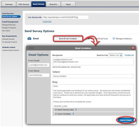 Email Survey Tools - send survey send email invitation survey invitation