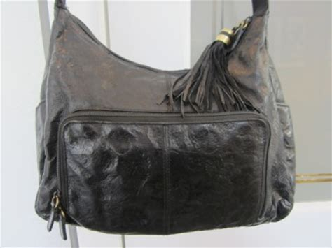Cabin Creek Purses by Cabin Creek Black Floral Embossed Soft Leather Hobo
