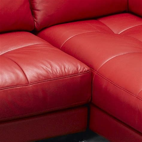 Modern Red Leather Sectional Sofa TOS FY633 1