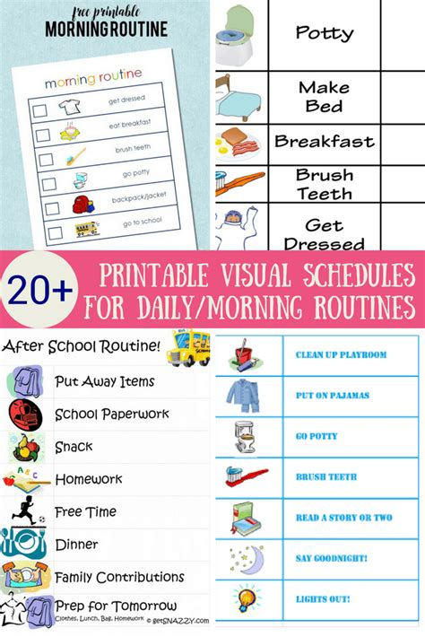 Printable Visual Schedule Cards